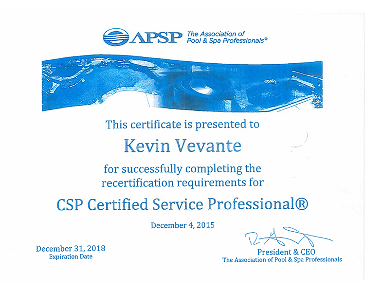 CSP Certified Aquacade Pools