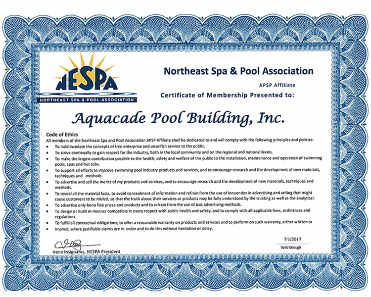 Northeast Spa & Pool Association Aquacade Pools