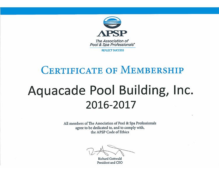 APSP Member Certified Aquacade Pools